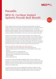 MED-EL Cochlear Implant Systems Provide Best Benefit FocusOn