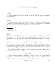 Thermal Coefficient of Linear Expansion Purpose: The purpose of ...