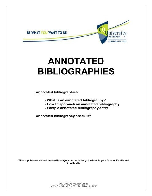 ANNOTATED BIBLIOGRAPHIES - Central Queensland University