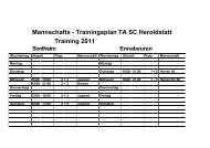 Mannschafts - Trainingsplan TA SC Heroldstatt Training 2011