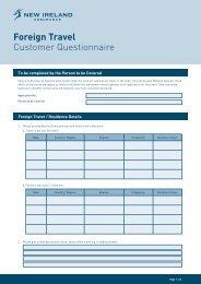 Foreign Travel Customer Questionnaire - New Ireland Assurance