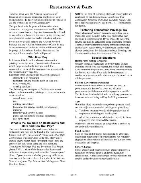 RESTAURANT & BARS - Arizona Department of Revenue