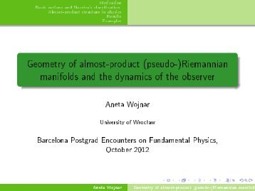 Geometry of almost-product (pseudo-)Riemannian manifolds and ...