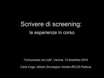 Scrivere di screening & altro
