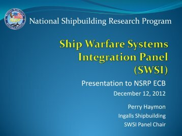 Ship Warfare Integration Systems Panel Overview - NSRP