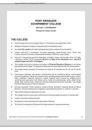 POST GRADUATE GOVERNMENT COLLEGE - Chandigarh