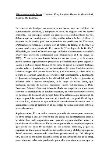 Reseña del libro de Umberto Eco EL CEMENTERIO DE PRAGA