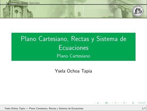 Plano Cartesiano, Rectas y Sistema de Ecuaciones