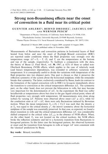 Strong non-Boussinesq effects near the onset of convection in a fluid ...