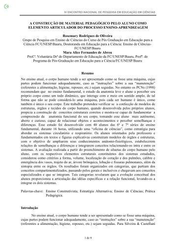 A CONSTRUÇÃO DE MATERIAL PEDAGÓGICO ... - Axpfep1.if.usp.br