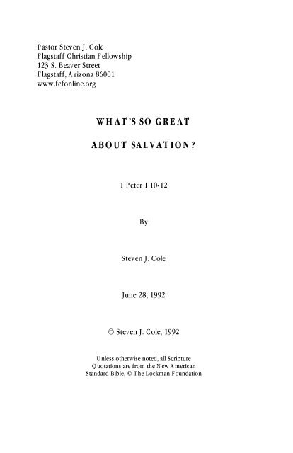 what's so great about salvation? - Flagstaff Christian Fellowship!
