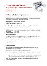 Ausschreibung - Bundesverband Deutscher Bestatter e.V.
