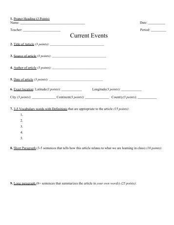 Health Current Event Worksheet