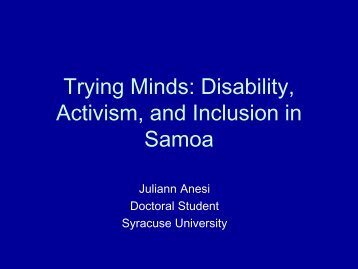 Trying Minds: Disability, Activism, and Inclusion in Samoa