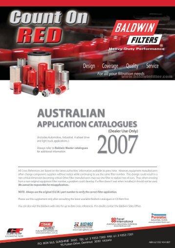 Master Australian catalogues - Baldwin Filters