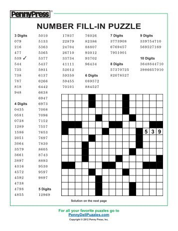 Unusual image with regard to printable number fill in puzzles