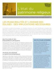 L'état du patrimoine religieux – Numéro 3, mai 2013 - Conseil du ...