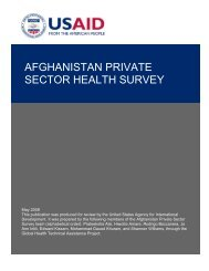 AFGHANISTAN PRIVATE SECTOR HEALTH SURVEY