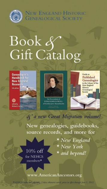 New England Historic Genealogical Society, Gift Catalog 2012