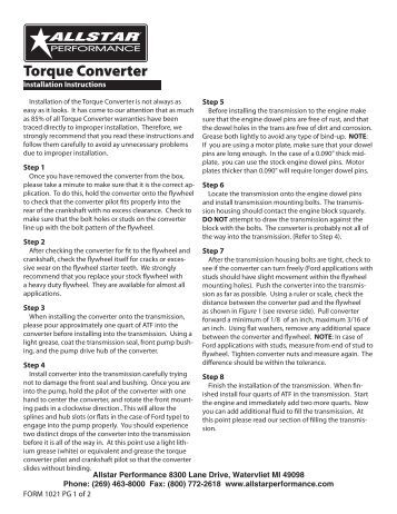 Torque Converter Leak Test Procedure Article No