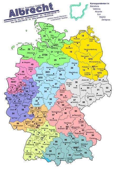 Karte Plz.Plz Karten Deutschland Und Spanien Spedition Albrecht