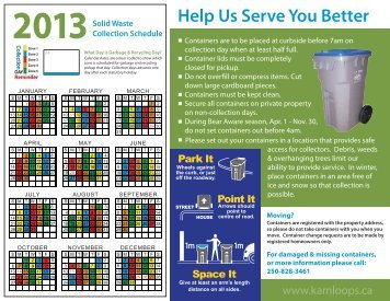 2013 Collection Schedule - City of Kamloops