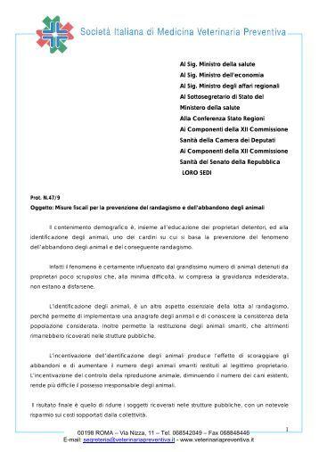 Misure fiscali per la prevenzione del randagismo e dell ... - SIVeMP