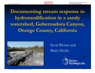 Documenting stream response to hydromodification in a sandy ...