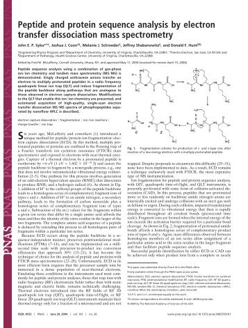 Peptide and protein sequence analysis by electron transfer ...