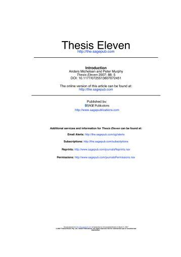 thesis eleven