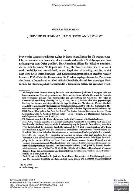 Jüdische Friedhöfe in Deutschland 1933-1957 - Institut für ...