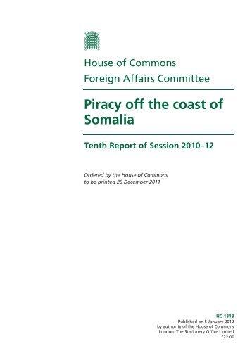 Piracy off the coast of Somalia - United Kingdom Parliament