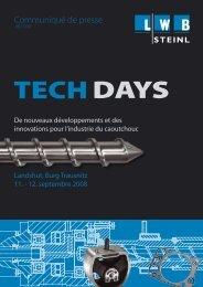 Pressemitteilung Tech Days 2008 fr.indd - LWB Steinl GmbH & Co. KG