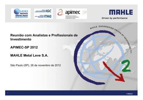 Apresentação Apimec SP 26 11 2012 (Website) - mahle
