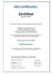 Zertifikat - TRIMET Aluminium SE