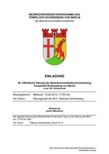 Tagesordnung der 20. Sitzung, Mai 2013 (inkl ... - Ein Bezirk für Alle