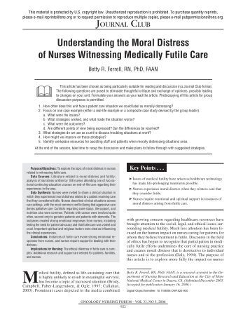 causes and effects of moral distress Cases: working through moral distress critical care nurses' perceptions of futile care and its effect on burnout am j crit care may 2004 13:202-208 medical futility remains leading cause of moral distress among nurses via medical futility blog.