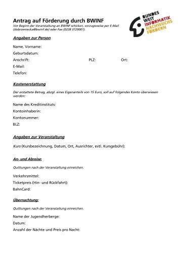 formular zur beantragung der frderung durch den bwinf - Tu Clausthal Bewerbung
