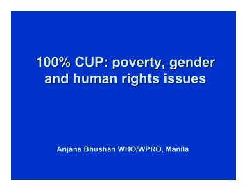 100 persent CUP poverty, gender and human rights issues