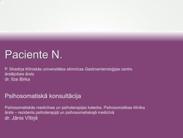 Klīniskais gadījums KZS_psihoterapeita skatījums, dr. Jānis Vītiņš
