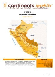 Au royaume d'Atahualpa - Continents Insolites