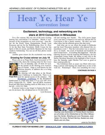 JULY 10 E-NEWSLETTER - Hearing Loss Association of Florida