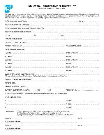 download Credit Account Application