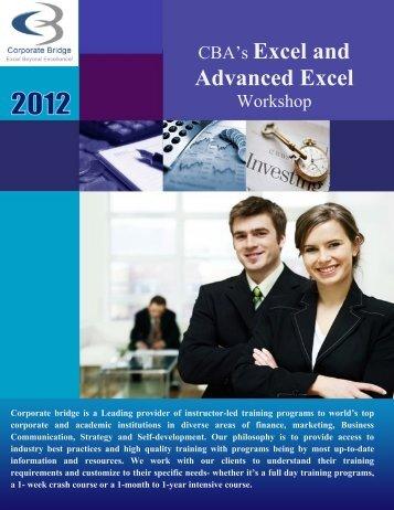 CBA's Excel and Advanced Excel - EduCorporateBridge