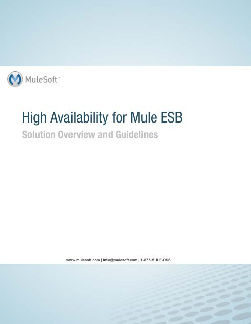 High Availability for Mule ESB - MuleSoft