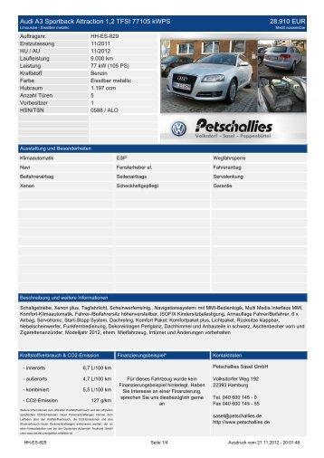 Audi A3 Sportback Attraction 1,2 TFSI 77105 kWPS ... - Petschallies