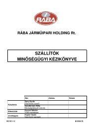 szállítók minőségügyi kézikönyve - RÁBA Járműipari Holding Nyrt.