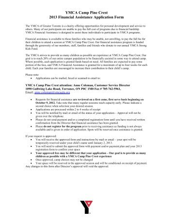 Financial Assistance Application - South Sound YMCA
