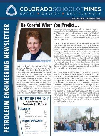 October 2011 Newsletter - petroleum engineering colorado school ...