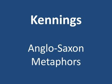 Kennings Anglo-Saxon Metaphors